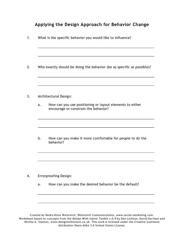 Printables Behavior Worksheets design approach for behavior change worksheet applying the 1 what is specific you would