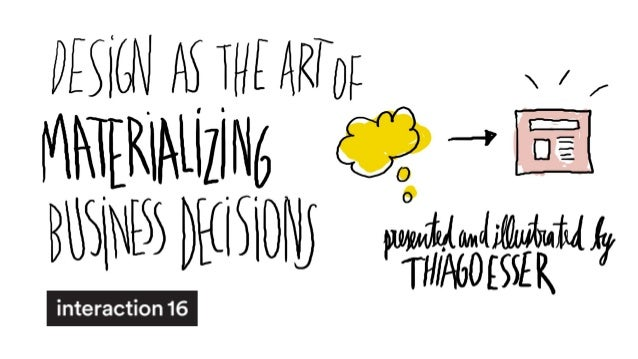 Design as the art of materializing business decisions (Interaction 16)