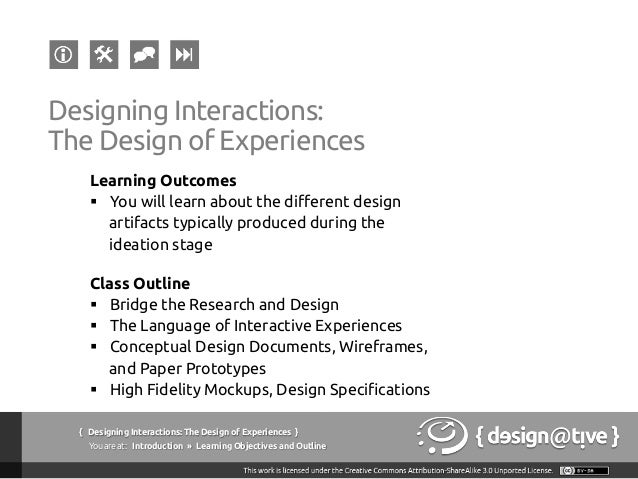 Designing Interactions / Experiences: Lecture #05 Slide 3