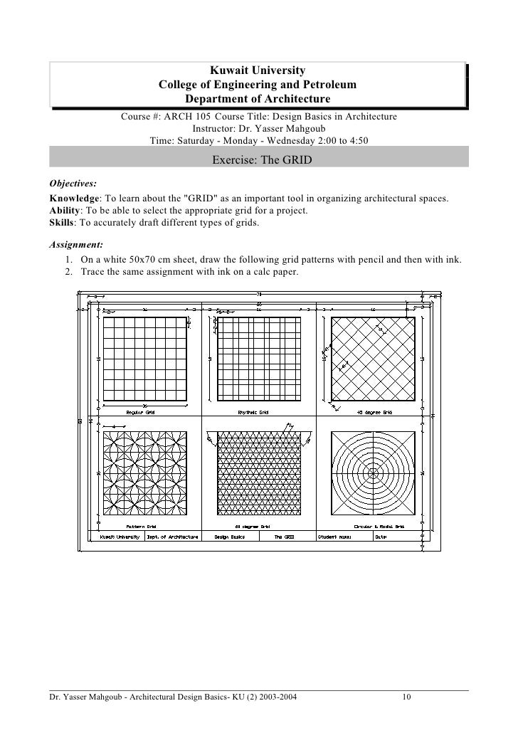 architectural design knowledge.  10 Architectural Design Basics Syllabus 2004