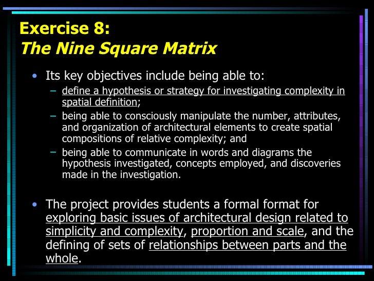 Exercise 8: The Nine Square Matrix <ul><li>Its key objectives include being able to: </li></ul><ul><ul><li>define a hypoth...