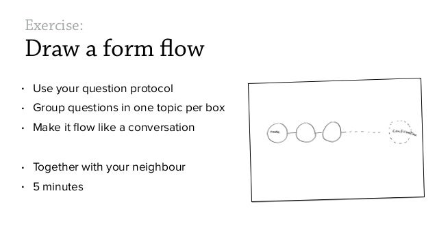 Exercise: Draw a form flow • Use your question protocol • Group questions in one topic per box • Make it flow like a conver...