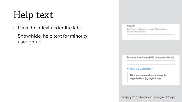 Help text • Place help text under the label • Show/hide, help text for minority user group employmenttribunals.service.gov...