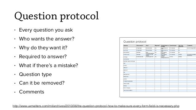 Question protocol • Every question you ask • Who wants the answer? • Why do they want it? • Required to answer? • What if ...
