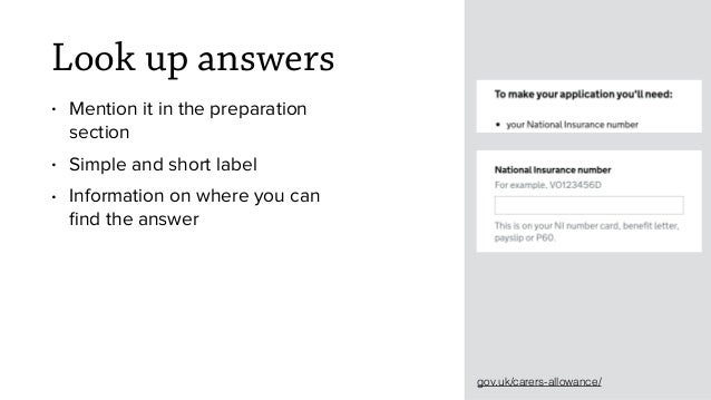 Look up answers • Mention it in the preparation section • Simple and short label • Information on where you can find the an...