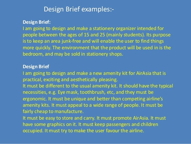 writing a design brief example