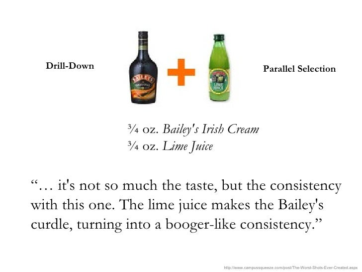 "¾ oz.  Bailey's Irish Cream   ¾ oz.  Lime Juice   ""…  it's not so much the taste, but the consistency with this one. The l..."