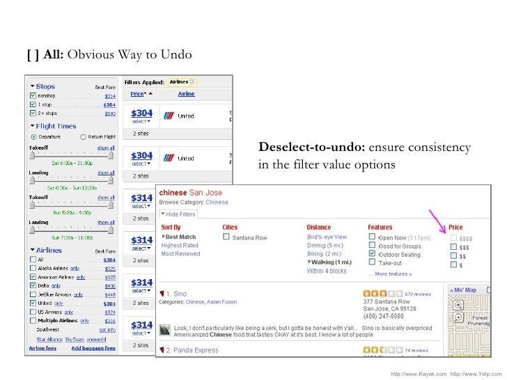 [ ] All:  Obvious Way to Undo Deselect-to-undo:  ensure consistency in the filter value options http://www.Kayak.com  http...