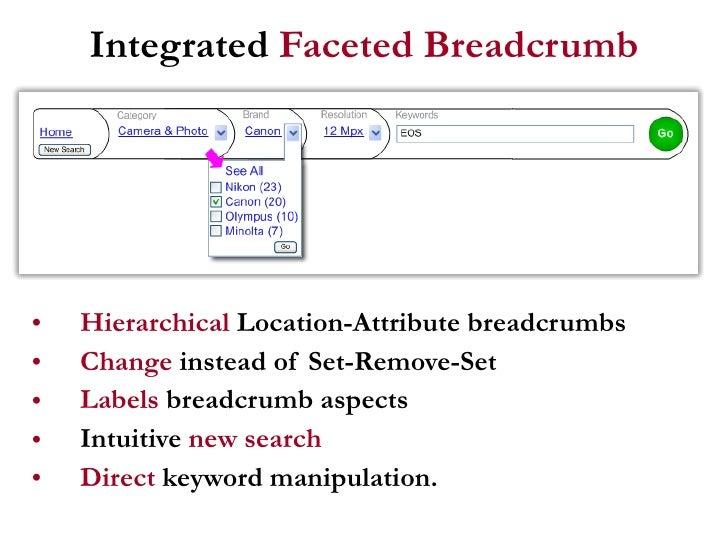 Integrated  Faceted   Breadcrumb <ul><li>Hierarchical  Location-Attribute breadcrumbs </li></ul><ul><li>Change  instead of...