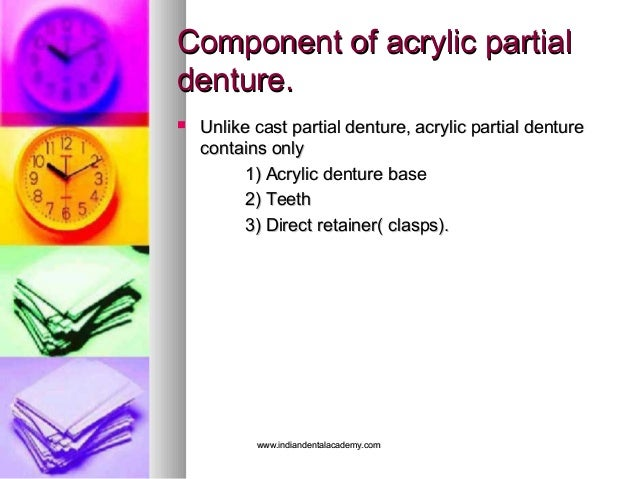 Component of acrylic partialComponent of acrylic partial denture.denture.  Unlike cast partial denture, acrylic partial d...