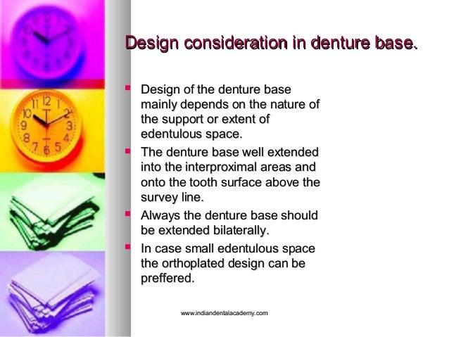 Design consideration in denture base.Design consideration in denture base.  Design of the denture baseDesign of the dentu...