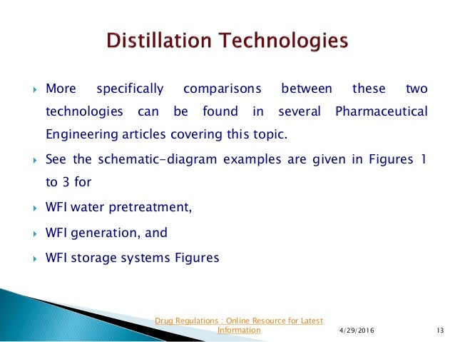 Design Considerations for WFI Distilation Systems
