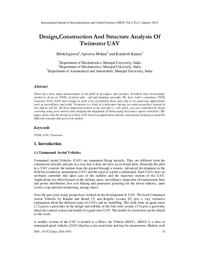 International Journal of Instrumentation and Control Systems (IJICS) Vol.4, No.1, January 2014  Design,Construction And St...