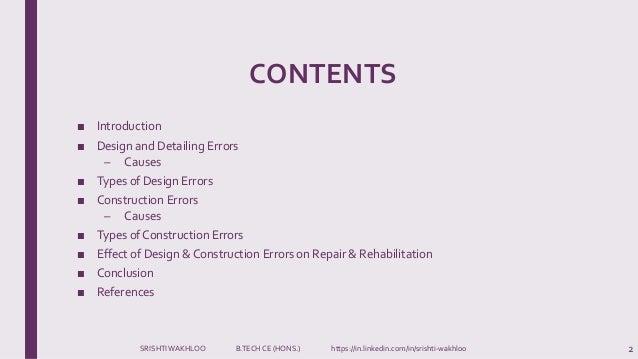 Design & Construction Errors- Building Maintenance and Repairs  Slide 2