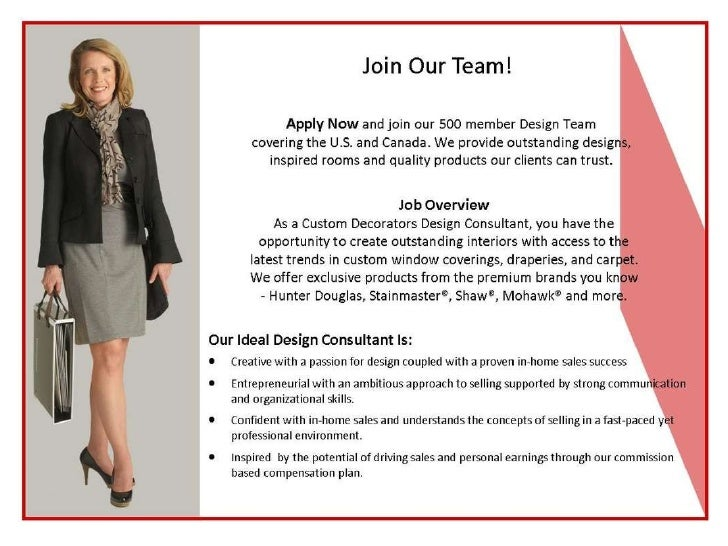 Interior design consultant job posting for In home design consultant