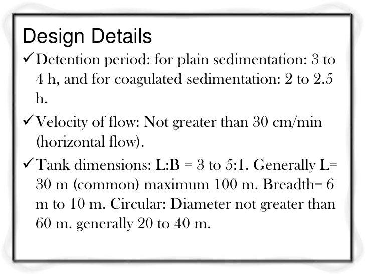 Design criteria for waste water treatment