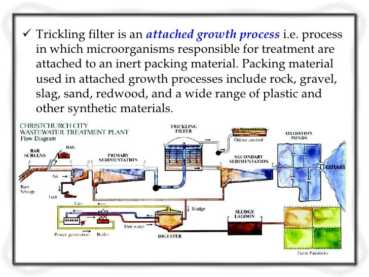 Process Description The wastewater in trickling filter is distributed over  the top area of a vessel containing non-subme...