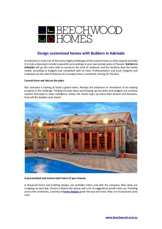 Design Customized Homes With Builders In Adelaide