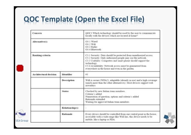 QOC Template (Open The Excel File) SEA Group ...