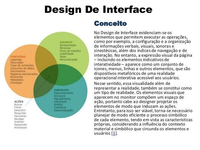 Design De Interface Conceito No Design de Interface evidenciam-se os elementos que permitem executar as operações, como po...