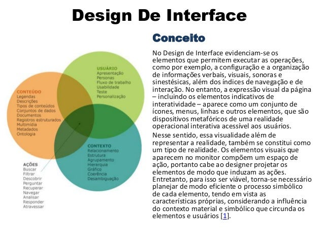 Design De Interface Conceito No Design de Interface evidenciam-se os elementos que permitem executar as operações, como po...