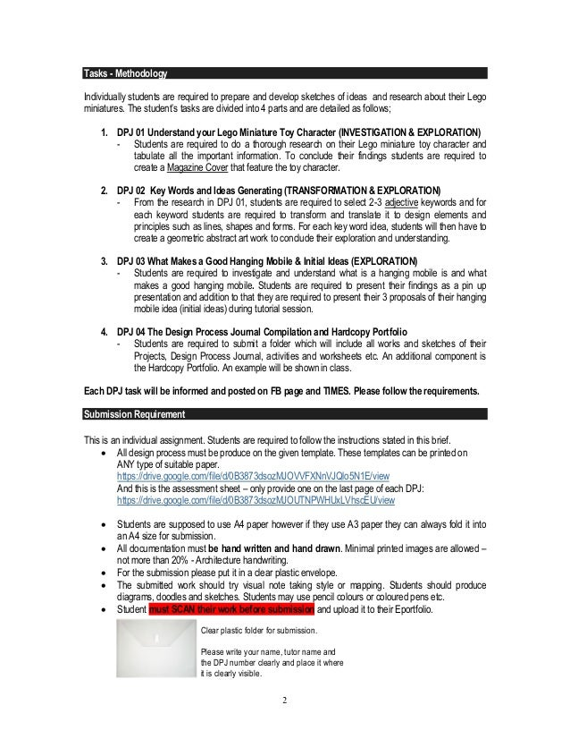 ITD Design design process journal brief Slide 2
