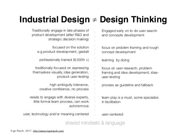 Industrial Design ≠ Design Thinking Traditionally engage in late phases of product development (after R&D and strategic de...