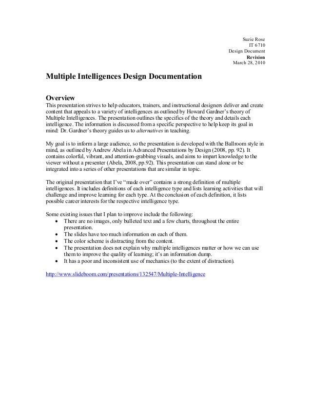 Suzie Rose IT 6710 Design Document Revision March 28, 2010 Multiple Intelligences Design Documentation Overview This prese...
