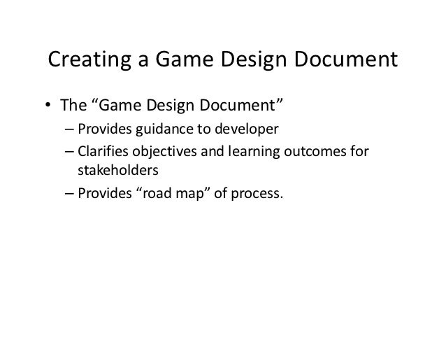 Creating The Design Document - Creating a design document