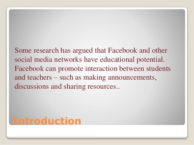 facebook as a learning platform education essay Social media in education refers to the practice of using social media platforms  as a way to  byod schools give preferential treatment to higher income  students by teaching them more educational and occupationally useful and  productive.