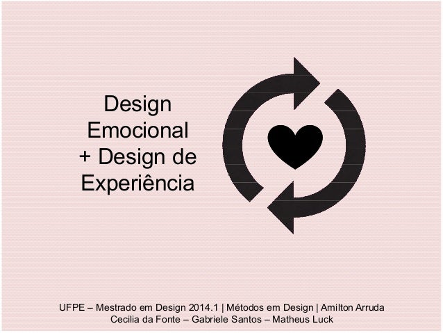 Design Emocional + Design de Experiência UFPE – Mestrado em Design 2014.1 | Métodos em Design | Amilton Arruda Cecilia da ...