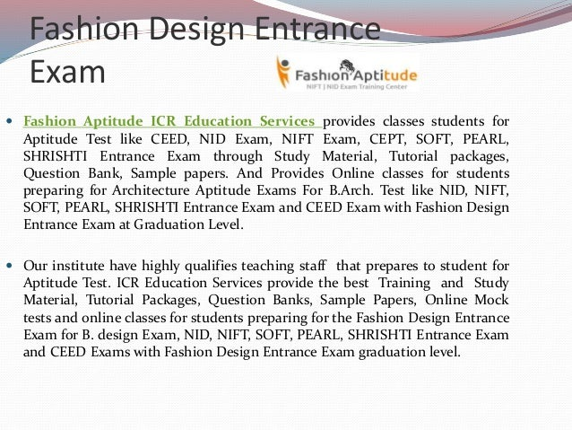 Fashion design entrance exam