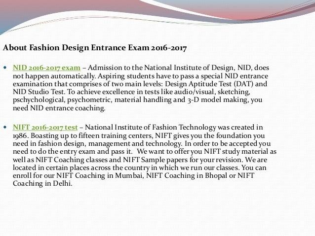 Fashion Design Entrance Exam