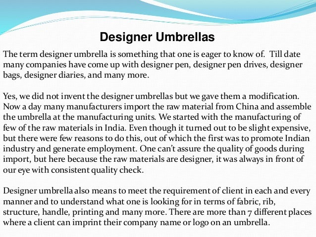 Designer umbrellas Slide 2