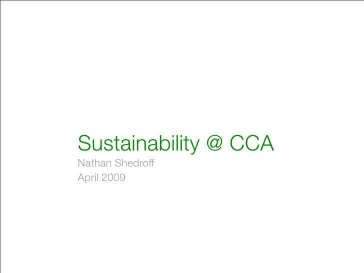 Sustainability @ CCA Nathan Shedroff April 2009