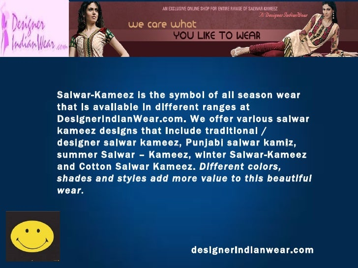 designerindianwear.com Salwar-Kameez is the symbol of all season wear that is available in different ranges at DesignerInd...
