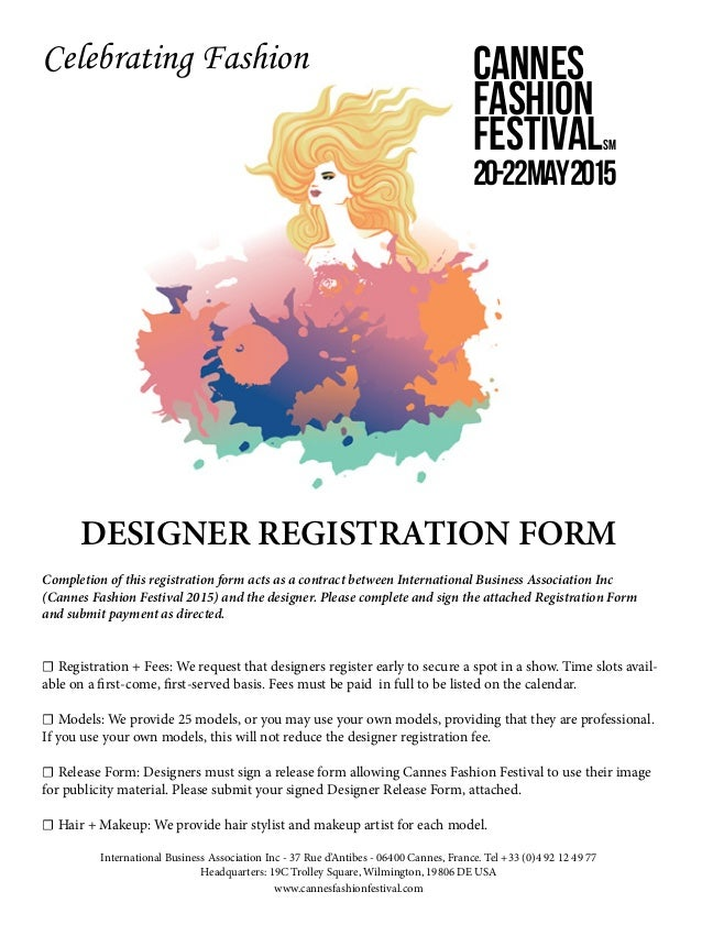 Fashion Show Application Form For Designers