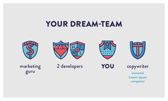 2 developers YOUR DREAM-TEAM YOU copywriter immortal Lorem-ipsum conqueror marketing guru