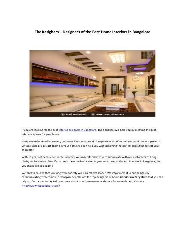 The Karighars Top Villa Interior Designer In Bangalore