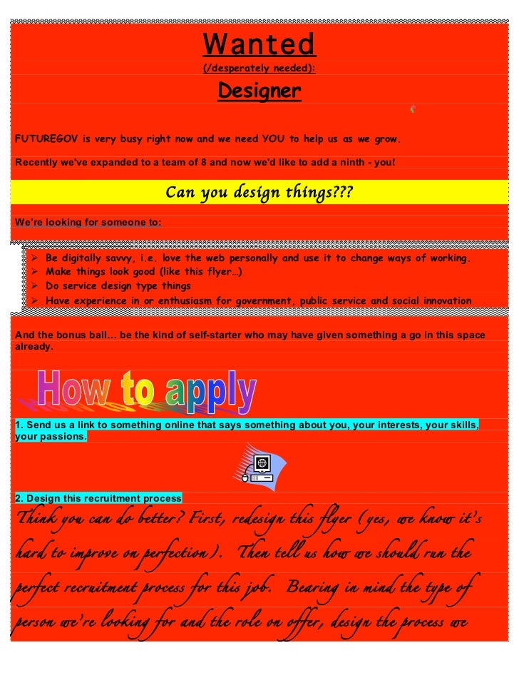 Wanted                                       (/desperately needed):                                          DesignerFUTUR...
