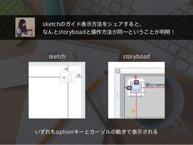 sketchのガイド表示方法をシェアすると、 なんとstoryboadと操作方法が同一ということが判明! sketch storyboad いずれもoptionキーとカーソルの動きで表示される