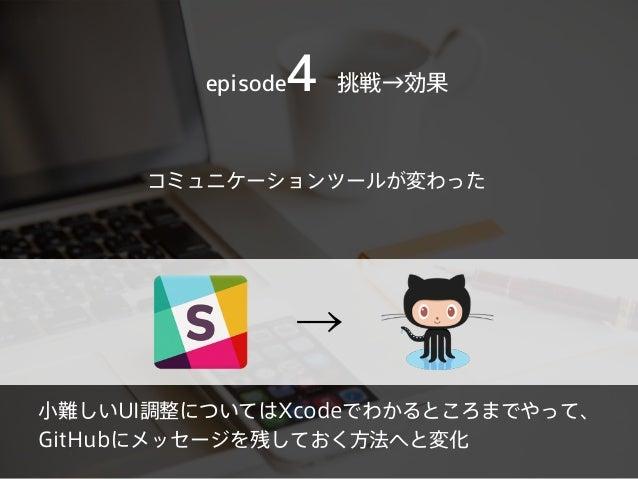 コミュニケーションツールが変わった episode4 挑戦→効果 → 小難しいUI調整についてはXcodeでわかるところまでやって、 GitHubにメッセージを残しておく方法へと変化