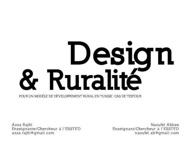 Design et ruralité, pour un modèle de développement rural en tunisie. cas de testour