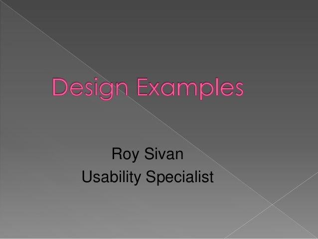 Roy Sivan Usability Specialist
