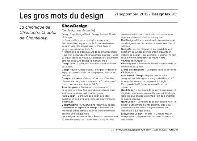LA LETTRE HEBDOMADAIRE DES STRATÉGIES DESIGN - PAGE 10 Design Days, Design Week, Design Festival, Month of Design... La Fr...