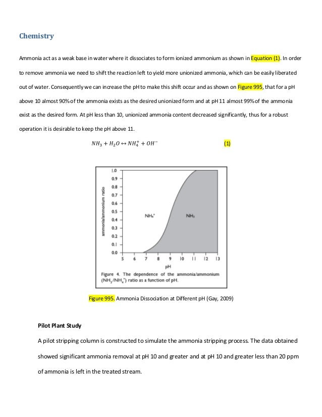 Chemistry Ammonia act as a weak base in water where it dissociates to form ionized ammonium as shown in Equation (1). In o...