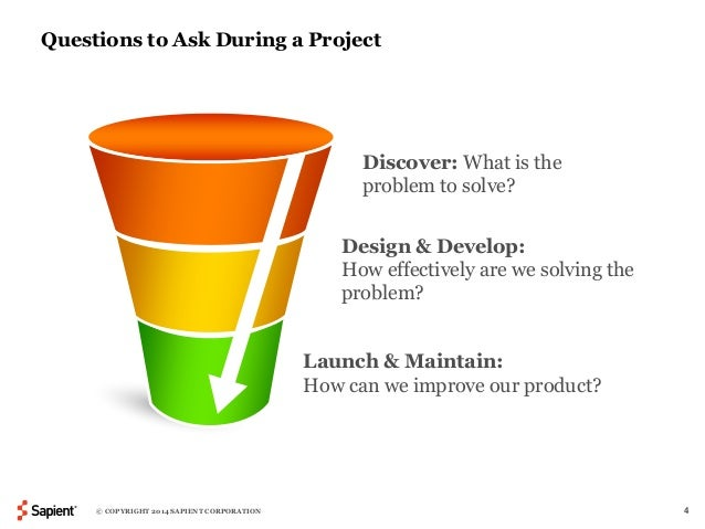 Questions to Ask During a Project  Discover: What is the  problem to solve?  Design & Develop:  How effectively are we sol...