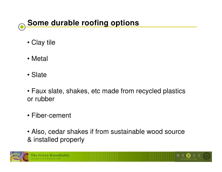 Design for durability for Fiber cement composite roofing slate style