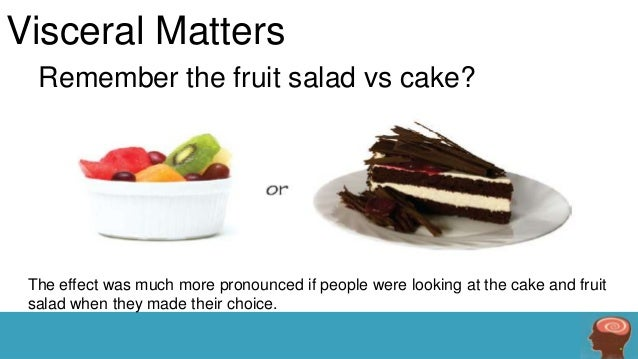 Visceral Matters Remember the fruit salad vs cake?  The effect was much more pronounced if people were looking at the cake...