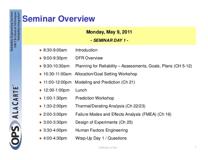 Design for Reliability (DfR) Seminar